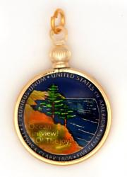 Hand Painted Jefferson Nickel Ocean View Pendant