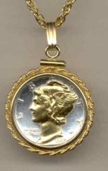 Gold on Silver Mercury Dime Necklace