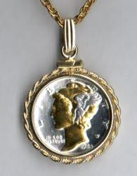 Gold and Silver on Silver Mercury Dime Necklace