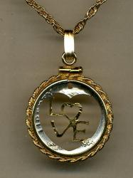 Gold on Silver Roosevelt Dime LOVE Cut Coin Necklace