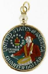 Hand Painted Washington Bicentennial Quarter Pendant