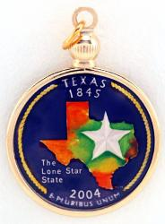 Hand Painted Texas State Quarter Pendant