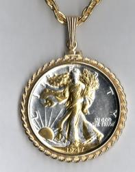 Gold and Silver on Silver Walking Liberty Half Dollar (Obv) Necklace