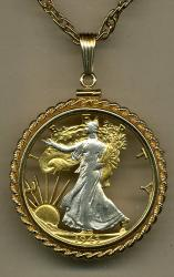Gold on Silver Walking Liberty Half Dollar (Obv) Cut Coin Necklace