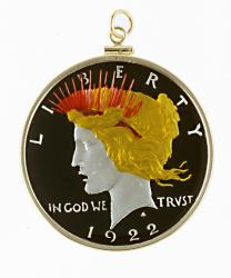 Hand Painted Peace Dollar Pendant