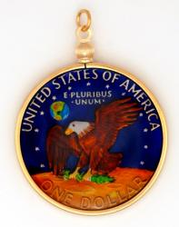 Hand Painted Eisenhower Dollar Pendant