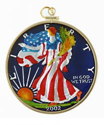 Hand Painted American Silver Eagle Pendant
