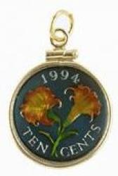 Hand Painted Bermuda 10 Cent Lily Pendant