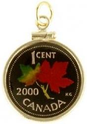 Hand Painted Canada 1 Cent Maple Leaf Pendant