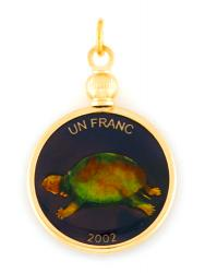 Hand Painted Congo 1 Frank Turtle Pendant