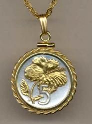 Gold on Silver Cook Islands 5 Cent Hibiscus Necklace