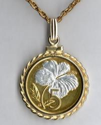 Gold and Silver on Silver Cook Islands 5 Cent Hibiscus Necklace
