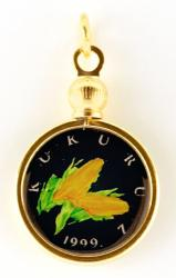 Hand Painted Croatia 1 Lipa Corn Pendant