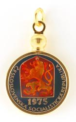 Hand Painted Czech Republic 1 Haler Lion and Shield Pendant