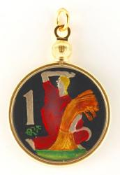 Hand Painted Czech Republic 1 Koruna Wheat Harvest Pendant