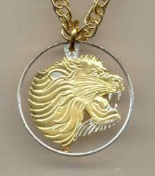 Gold on Silver Ethiopia 10 Cent Lion Cut Coin Necklace