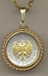 Gold on Silver Germany 1 Mark Eagle Necklace