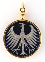 Hand Painted Germany 5 Mark Eagle Pendant