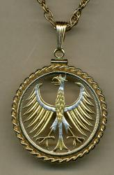 Gold on Silver Germany 5 Mark Eagle Cut Coin Necklace