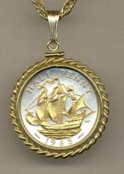 Gold on Silver Great Britain 1/2 Penny Sailing Ship Necklace