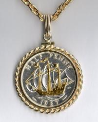 Gold and Silver on Silver Great Britain 1/2 Penny Sailing Ship Necklace