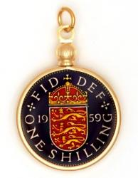 Hand Painted British 1 Shilling Lions and Shield Pendant