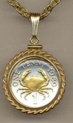 Gold on Silver Guernsey 1 Penny Crab Necklace