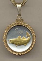 Gold on Silver Iceland 1 Krona Cod Fish Necklace