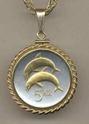 Gold on Silver Iceland 5 Kronur Dolphin Necklace