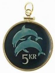 Hand Painted Iceland 5 Kronur Dolphin Pendant