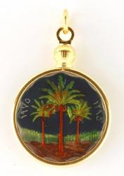 Hand Painted Iraq 5 Fils Palms Pendant