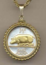 Gold on Silver Ireland 1/2 Penny Pig and Piglets Necklace