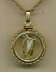 Gold on Silver Ireland 1/2 Penny Harp Cut Coin Necklace