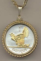 Gold on Silver Ireland 1 Penny Hen and Chicks Necklace