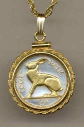 Gold on Silver Ireland 3 Pence Rabbit Necklace