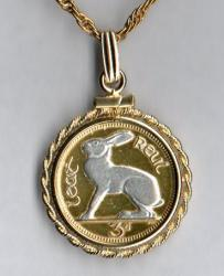 Silver on Gold Ireland 3 Pence White Rabbit Necklace