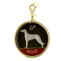 Hand Painted Ireland 6 Pence Reut Dog Pendant