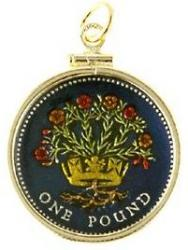 Hand Painted Ireland 1 Pound Blooming Flax Pendant