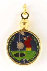 Hand Painted Isle of Man 5 Pence Golfer Pendant