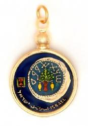 Hand Painted Israel 5 Agorah Roman Coin on a Coin Pendant