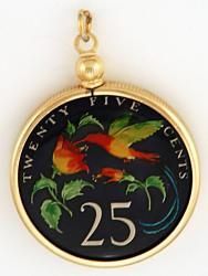 Hand Painted Jamaica 25 Cent Hummingbird Pendant