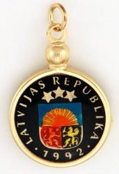 Hand Painted Latvia 1 Santims Shield Pendant