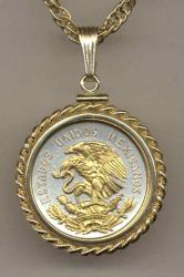 Gold on Silver Mexico 10 Centavo Eagle Necklace