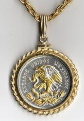 Gold and Silver on Silver Mexico 10 Centavo Eagle Necklace