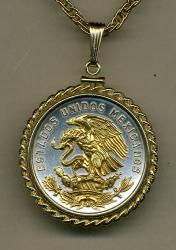 Gold on Silver Mexico 20 Centavo Eagle Necklace