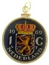 Hand Painted Netherlands 1 Gulden Crown Shield Lion Pendant