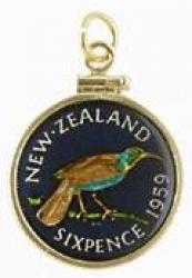 Hand Painted New Zealand 6 Pence Huai Bird Pendant