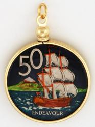 Hand Painted New Zealand 50 Cent H.M.S. Endeavour Pendant
