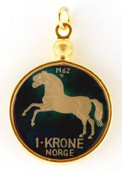 Hand Painted Norway 1 Krone Horse Pendant