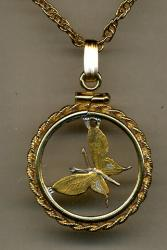 Gold on Silver Papa New Guinea 1 Toea Butterfly Cut Coin Necklace